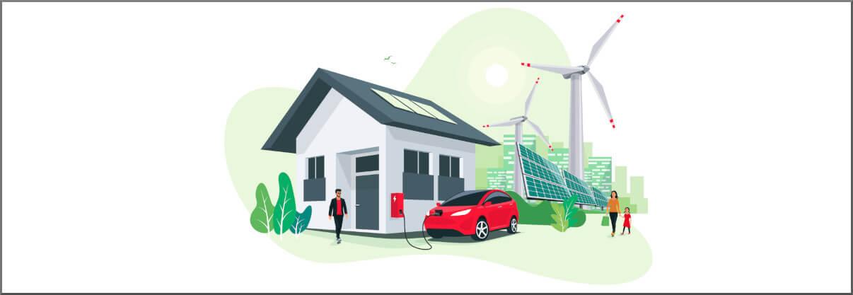 Wallbox lädt Elektroauto durch Solaranlage